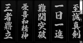Idéogramme représentant les 5 piliers de la société